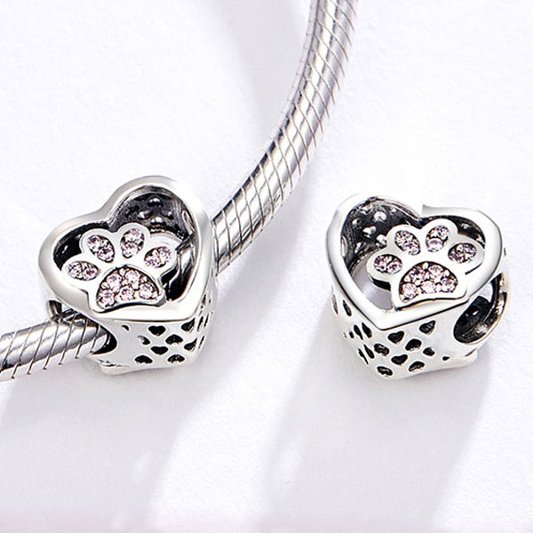 Sterling Silver Paw Print in my Heart Charm