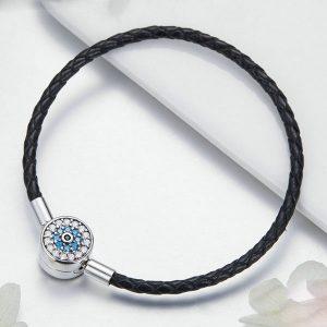 Dazzling Black Leather Bracelet