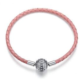 Dazzling Pink Leather Bracelet