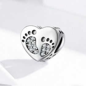 Footprints Heart Charm