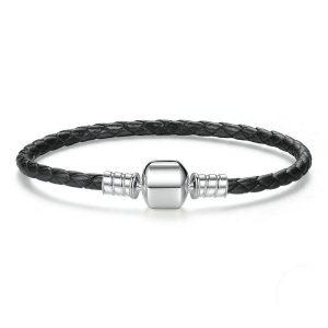 Plain Clasp Black Leather Bracelet