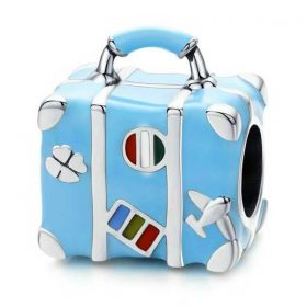 Blue Enamel Suitcase Charm
