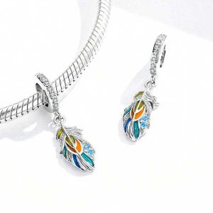 Colourful Feather Pendant Charm
