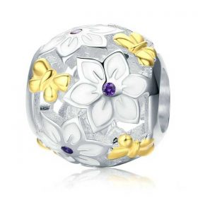 Flowers and Butterflies Enamel Charm