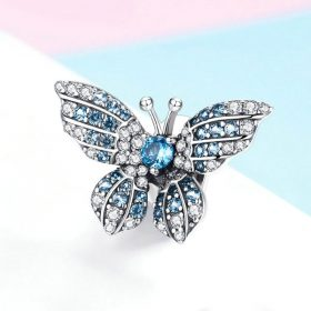 Crystal Blue Butterfly Charm