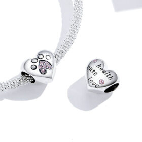 Soft Pawprint Heart Charm